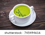 broccoli cream soup | Shutterstock . vector #745494616