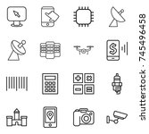 thin line icon set   monitor... | Shutterstock .eps vector #745496458