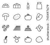 thin line icon set   greenhouse ...   Shutterstock .eps vector #745497679