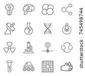 thin line icon set   bulb brain ... | Shutterstock .eps vector #745498744