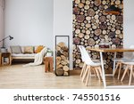 cozy warm living room with logs ... | Shutterstock . vector #745501516