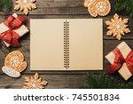 cozy winter holidays christmas... | Shutterstock . vector #745501834