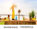 bar counter on the beach at... | Shutterstock . vector #745509514