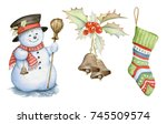 snowman  holly berries and... | Shutterstock . vector #745509574