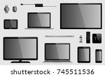 set of realistic tv  computer... | Shutterstock .eps vector #745511536