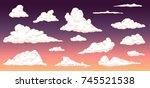 cartoon clouds on evening sky... | Shutterstock .eps vector #745521538