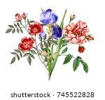 bouquet of iris flowers and... | Shutterstock . vector #745522828