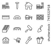 thin line icon set   store ... | Shutterstock .eps vector #745522918