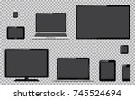set of realistic tv  computer... | Shutterstock .eps vector #745524694