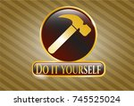 golden emblem with hammer icon ... | Shutterstock .eps vector #745525024