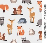 seamless pattern with different ... | Shutterstock .eps vector #745529938