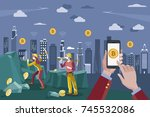 hands with a mobile phone.... | Shutterstock .eps vector #745532086