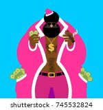 santa pimp and money. bad claus ... | Shutterstock .eps vector #745532824