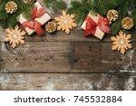 cozy winter holidays christmas... | Shutterstock . vector #745532884