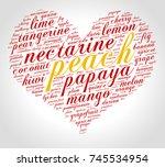peach. word cloud in shape of... | Shutterstock .eps vector #745534954