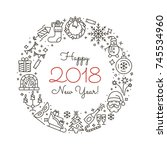 new year icons. happy new year... | Shutterstock .eps vector #745534960