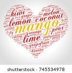 mango. word cloud in shape of... | Shutterstock .eps vector #745534978