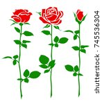 set of decorative rose with... | Shutterstock .eps vector #745536304