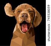 polygonal illustration of a dog.... | Shutterstock .eps vector #745538059