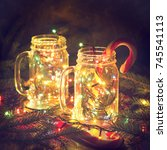 christmas glowing glass jars... | Shutterstock . vector #745541113