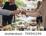 group of smiling people... | Shutterstock . vector #745541194