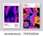 neon marble texture explosion... | Shutterstock .eps vector #745543036