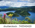view of the two forested... | Shutterstock . vector #745543420