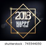 happy new year 2018 greeting... | Shutterstock .eps vector #745544050