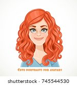 cute curly redhaired young... | Shutterstock .eps vector #745544530