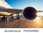 amazing sunset at the airport.... | Shutterstock . vector #745544983