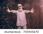 happy modern santa wants to hug ... | Shutterstock . vector #745545670