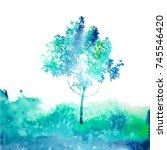 watercolor blue tree. vector   Shutterstock .eps vector #745546420