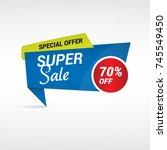 blue super sale label   special ... | Shutterstock .eps vector #745549450