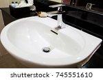 modern bathroom with basin | Shutterstock . vector #745551610