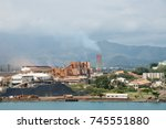 sln plant with smoke stack on... | Shutterstock . vector #745551880