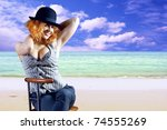 young woman in black hat...   Shutterstock . vector #74555269