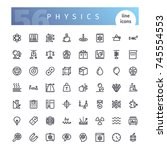 set of 56 physics line icons...   Shutterstock .eps vector #745554553