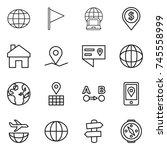 thin line icon set   globe ... | Shutterstock .eps vector #745558999