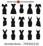 fashion woman dresses icons set.... | Shutterstock .eps vector #745562110