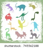 silhouettes of strange animals | Shutterstock .eps vector #745562188
