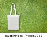 white cotton canvas eco... | Shutterstock . vector #745563766