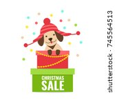 cute puppy in funny hat with... | Shutterstock .eps vector #745564513