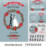 wedding invitation card.vintage ... | Shutterstock .eps vector #745565434