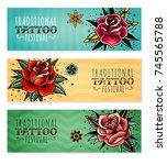 set of three horizontal banners ... | Shutterstock .eps vector #745565788