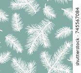 fir branch seamless pattern. | Shutterstock .eps vector #745567084