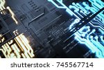 electronic circuitry with gold... | Shutterstock . vector #745567714