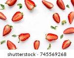 strawberry creative pattern... | Shutterstock . vector #745569268