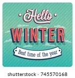 hello winter typographic design.... | Shutterstock .eps vector #745570168