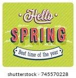 hello spring typographic design.... | Shutterstock .eps vector #745570228