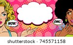 Wow pop art faces. Sexy surprised young blond and afro american women with open mouths and OMG and WOW speech bubbles looking aside. Vector bright background in retro comic style.  Invitation poster. | Shutterstock vector #745571158